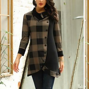 Brown Plaid Asymmetric Button-Up Tunic - L